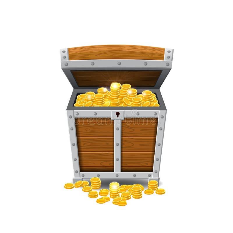 Pechos viejos de madera del pirata, llenos de tesoros, monedas de oro, tesoros, vector, estilo de la historieta, ejemplo, aislado stock de ilustración