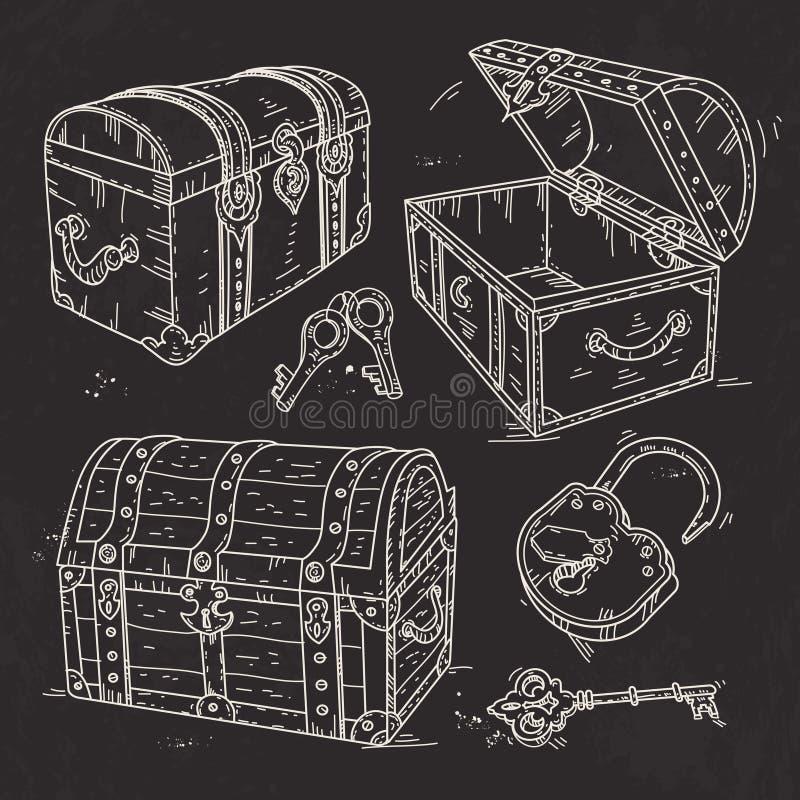 Pechos viejos del pirata con la cerradura y llaves dibujados en fondo negro libre illustration