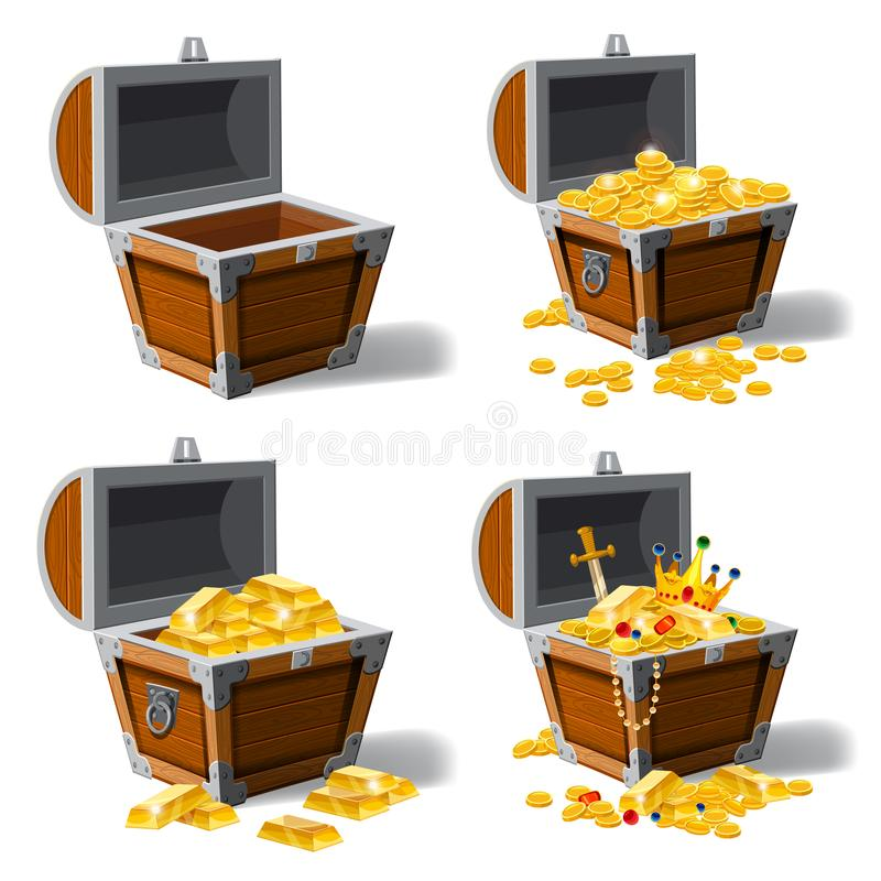 Pechos viejos determinados del pirata por completo de los tesoros, monedas de oro, lingotes, joyería, corona, daga, vector, estil stock de ilustración
