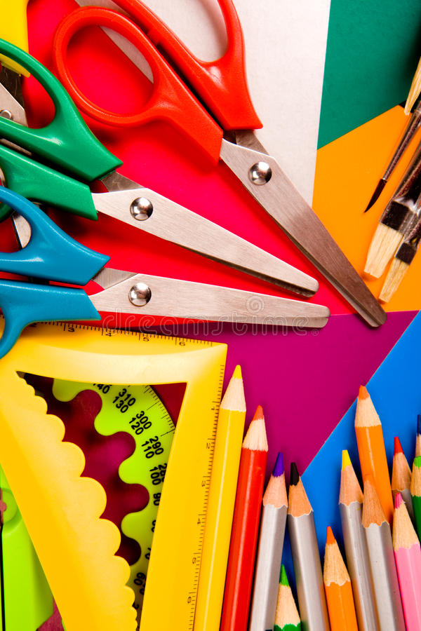 Download Pecils, Scissors, Rulers, Paintbrushes Stock Image - Image: 15531405