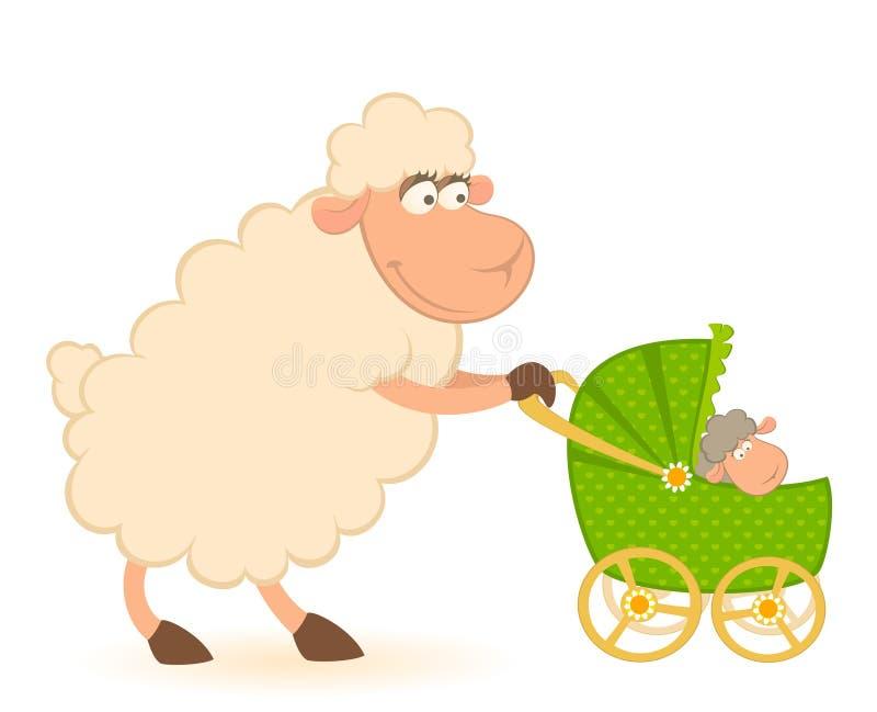 Pecore con il carrello di bambino dello scarabocchio illustrazione vettoriale