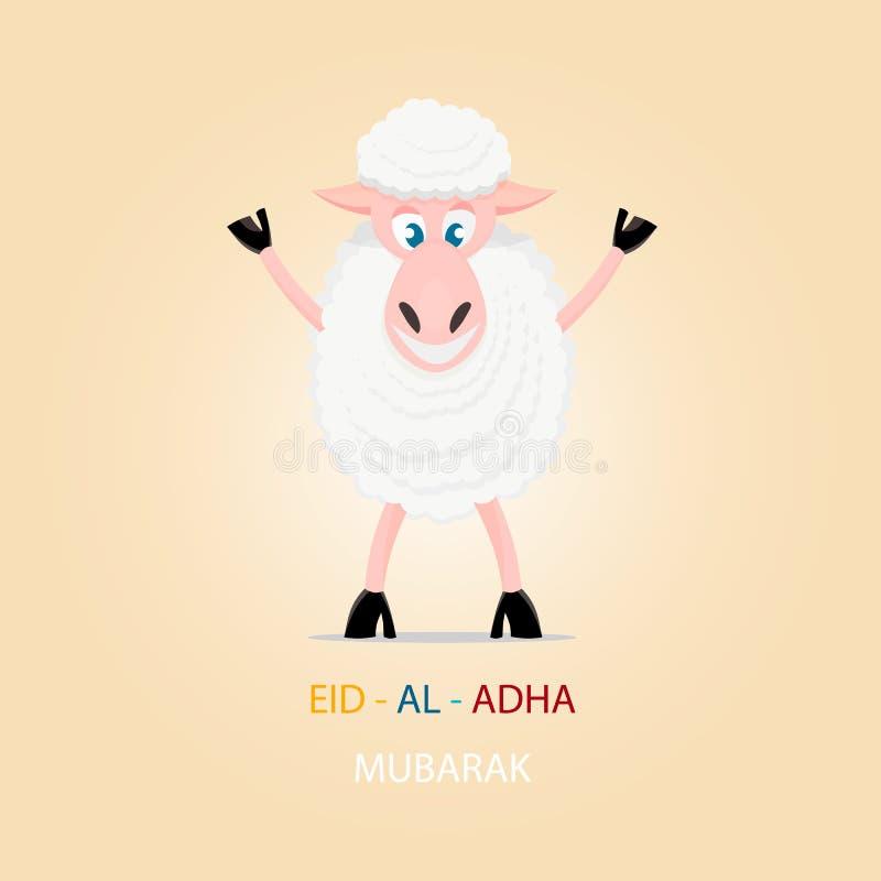 Pecore del fumetto, cartolina d'auguri per il festival islamico del sacrificio illustrazione di stock
