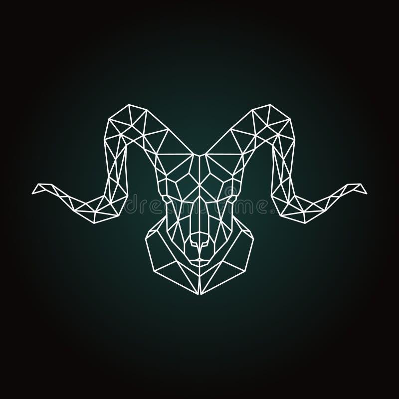 Pecore di montagna cape geometriche su fondo nero illustrazione di stock
