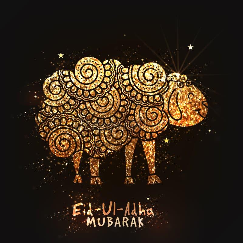 Pecore dorate di stile di scarabocchio per Eid al-Adha illustrazione vettoriale