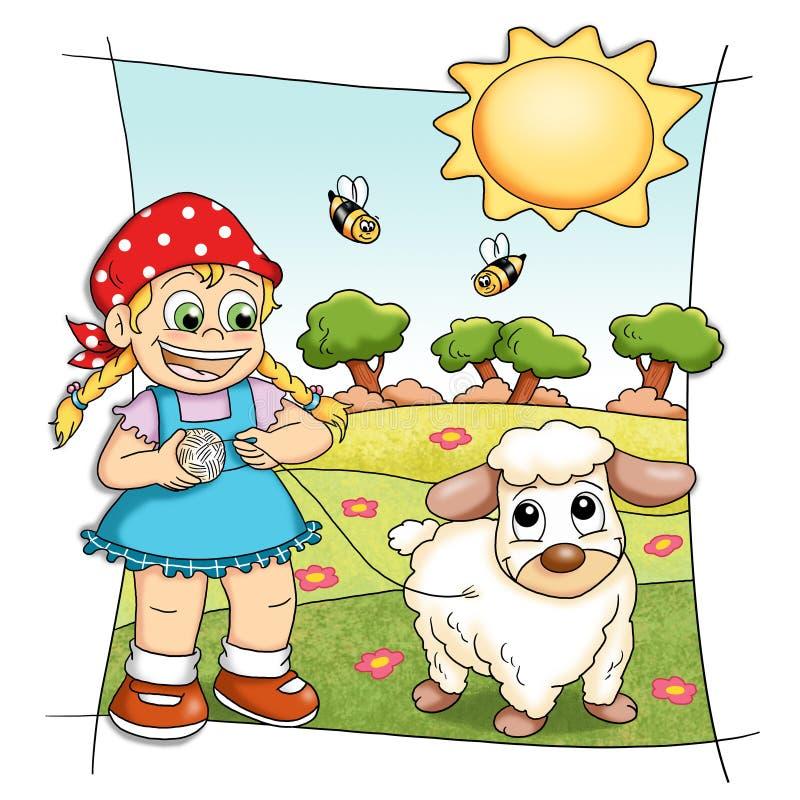 Pecore felici royalty illustrazione gratis