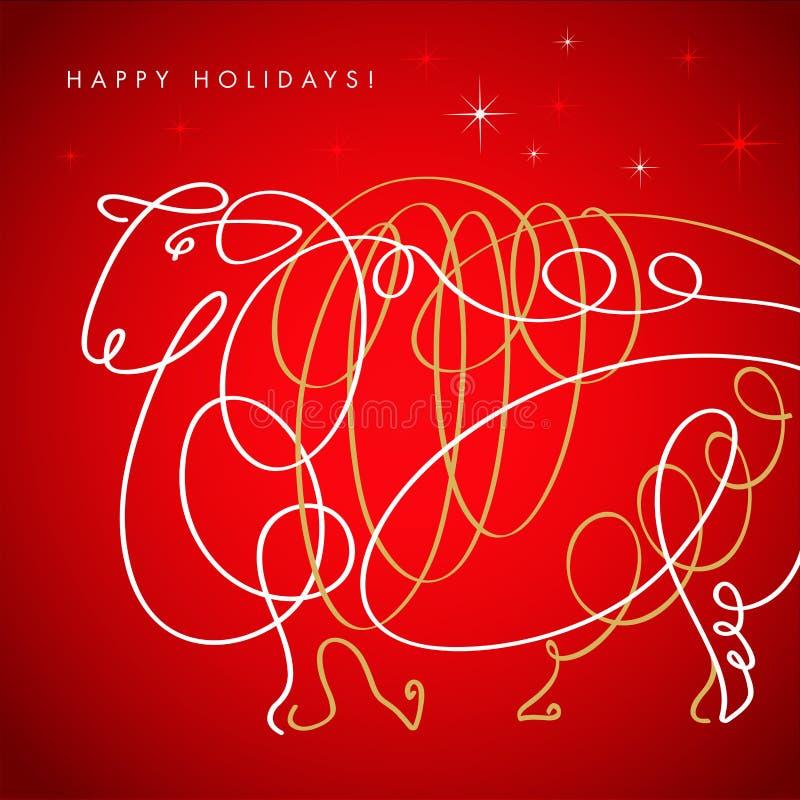 Pecore felici di feste Cartolina d'auguri illustrazione vettoriale