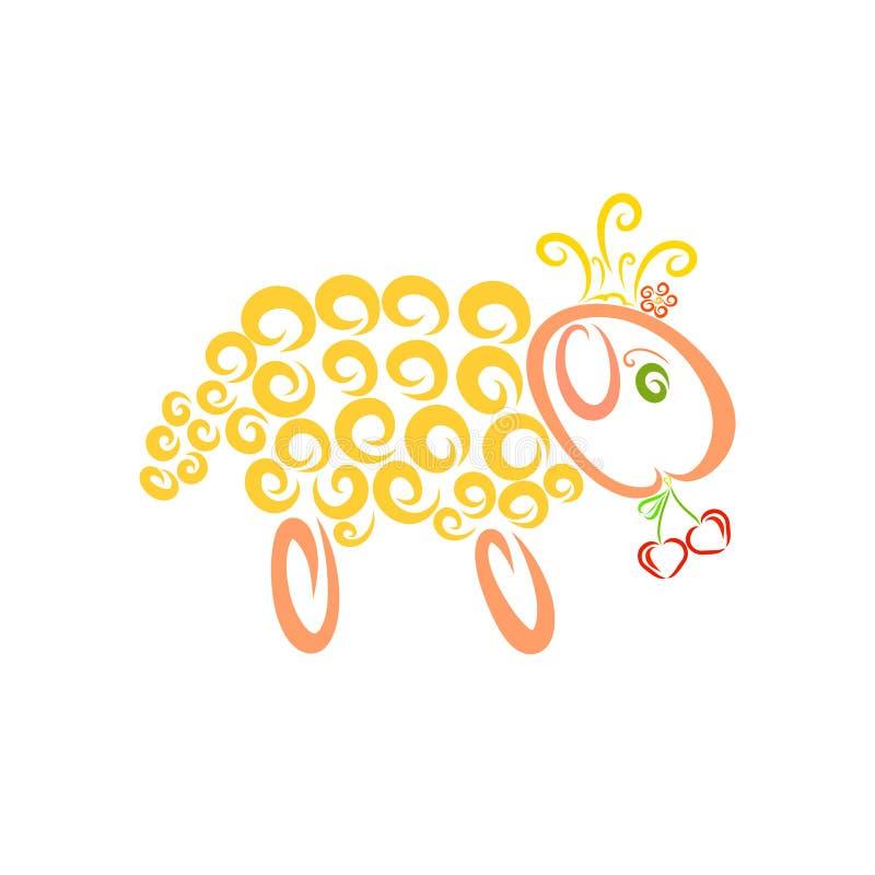 Pecore gialle in una corona che tiene due ciliege in forma di cuore illustrazione vettoriale
