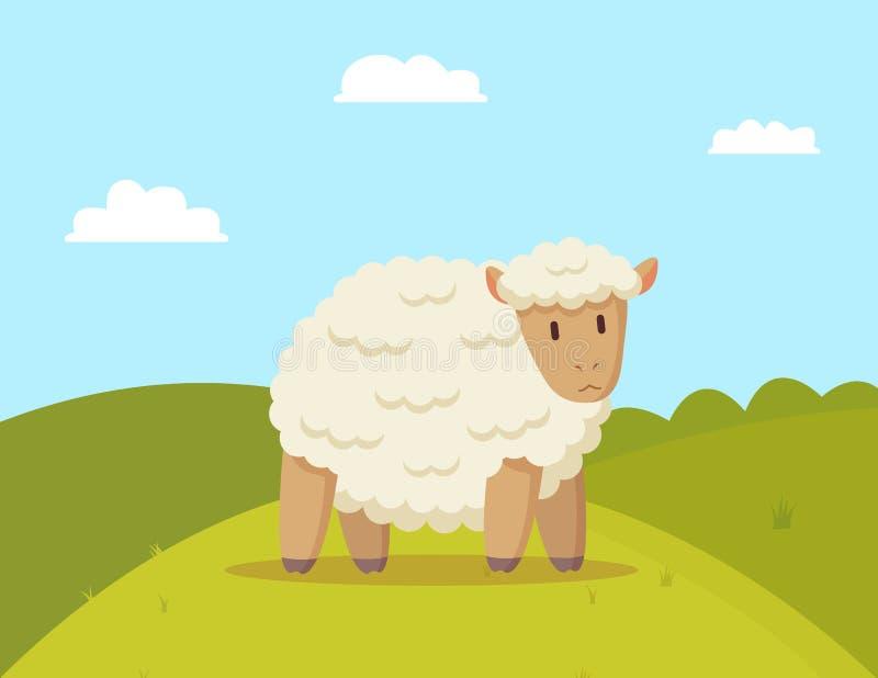 Pecore lanuginose che camminano sul manifesto variopinto del prato royalty illustrazione gratis