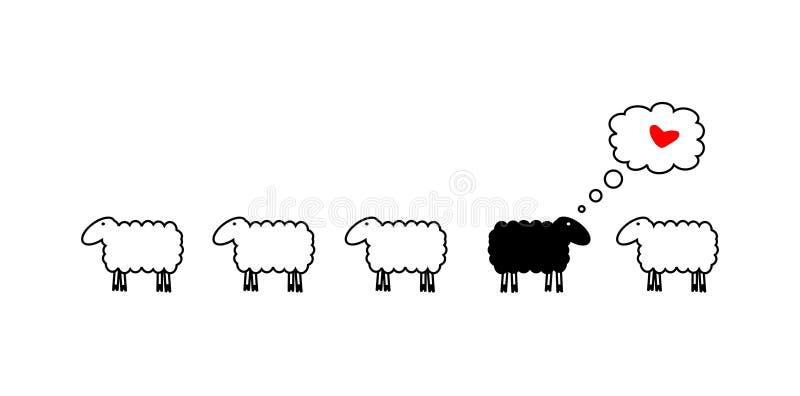 Pecore nell'amore illustrazione di stock
