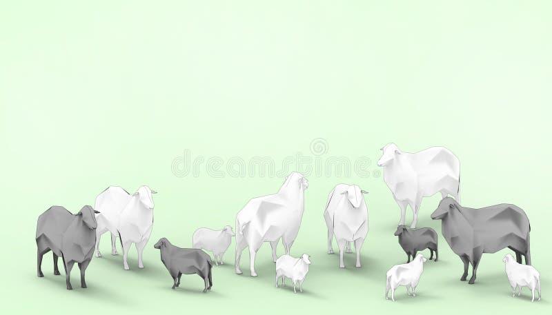 Pecore nere arte moderna bassa di concetto del gruppo della famiglia delle pecore bianche nella poli e nel fondo verde moderno co royalty illustrazione gratis