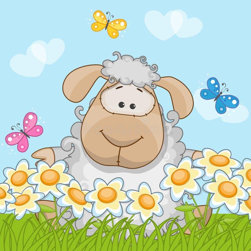 Pecore su un prato illustrazione di stock