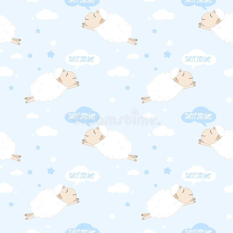 Pecore sveglie che dormono ed illustrazione del fumetto del modello di sogni dolci illustrazione vettoriale