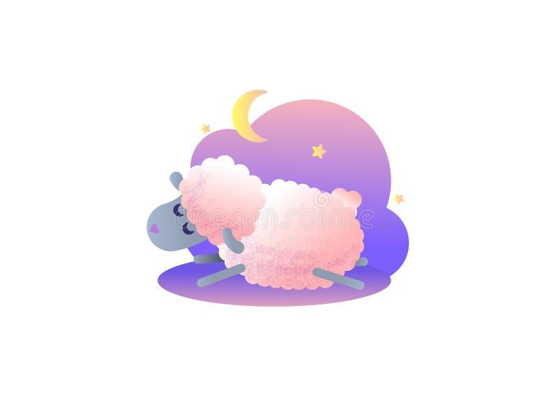 Pecore sveglie del fumetto che saltano sopra il recinto Metafora di sonno della buona notte immagini stock