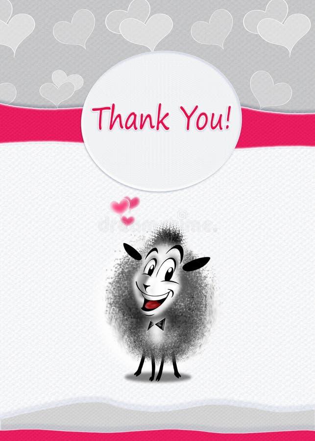 Pecore sveglie della cartolina d'auguri di ringraziamenti royalty illustrazione gratis