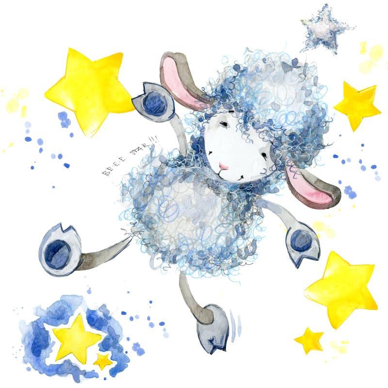 Pecore sveglie Illustrazione dell'acquerello Progettazione della maglietta delle pecore Fondo delle stelle e delle pecore illustrazione vettoriale