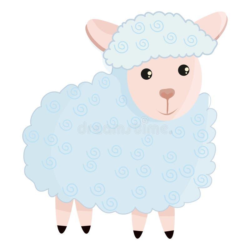 Pecore sveglie nello stile piano royalty illustrazione gratis