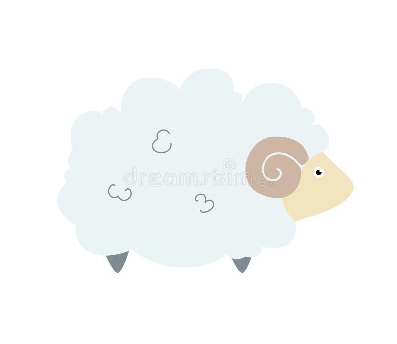 Pecore sveglie nello stile piano Autoadesivo o icona sveglio del fumetto degli animali domestici royalty illustrazione gratis