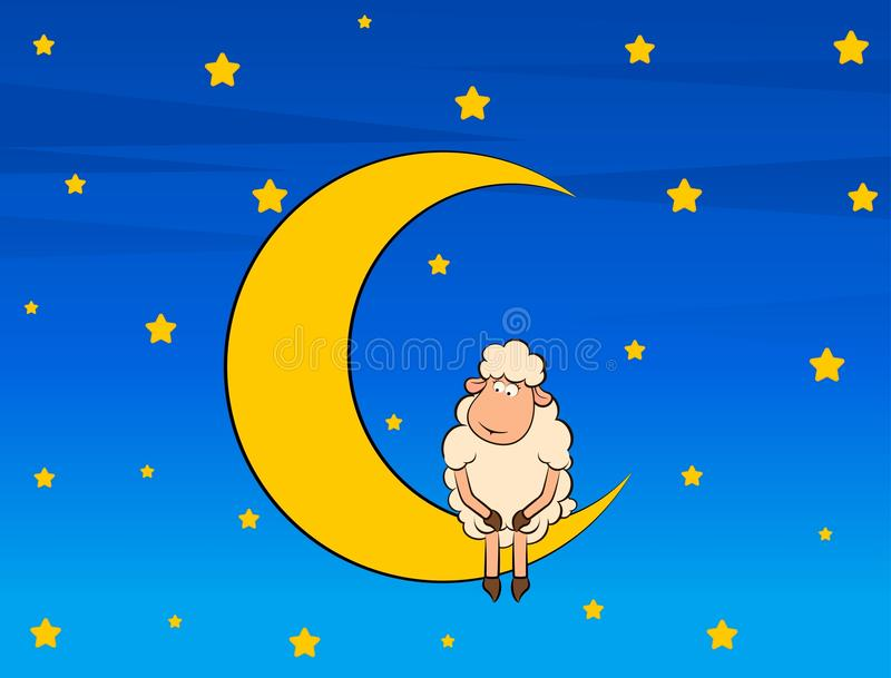 pecore sveglie sulla luna illustrazione vettoriale