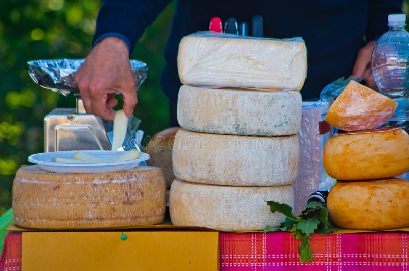 Pecorino ost som är utsatt till den allmänna marknaden royaltyfri foto