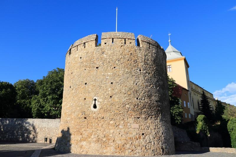 Pecs, Hungary. City in Baranya county. Town walls defensive round tower stock images