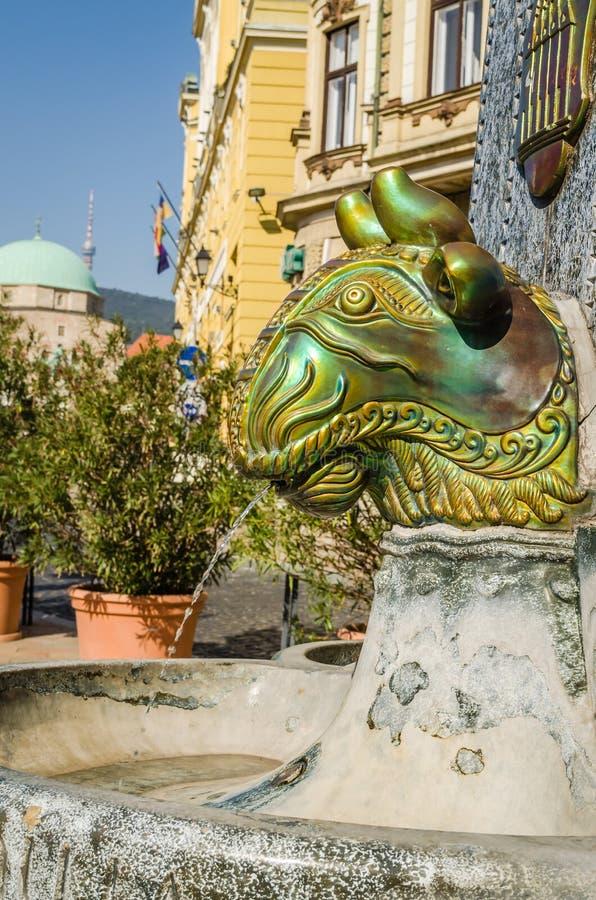Pecs, Hungary - October 06, 2018: Zsolnay fountain landmark Pecs stock images
