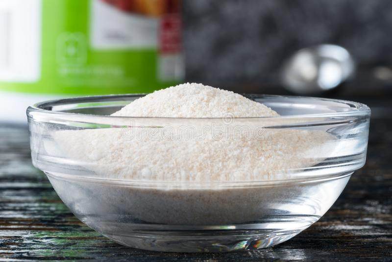 Pectin in an Ingredient Bowl. Close up view of pectin in an ingredient bowl stock photo