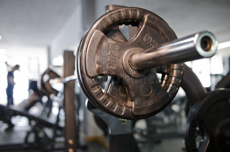 Pectoral press bench. At real gym weights ready for fitness royalty free stock photo