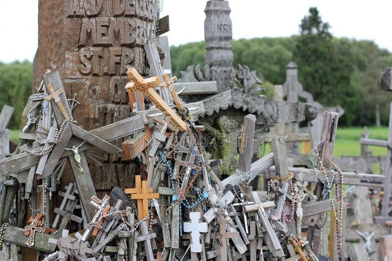 The hill of crosses in Lithuania royalty free stock photography