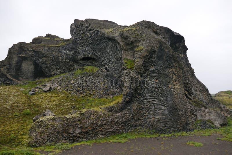 Peculiar rock formation `Hjoldaklettar` in Vesturdalur valley royalty free stock images