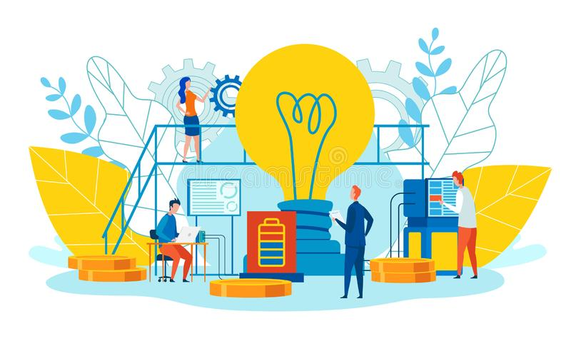 Peculiarities and Main Ways Teamwork Cartoon Flat. Men and Women Work Ideas. Foreground is Large Incandescent Lamp. Team Metaphor Progress and Growth royalty free illustration