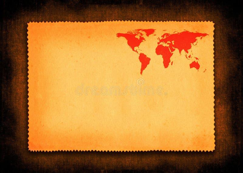Pedaço de papel com o mapa de mundo pequeno ilustração stock