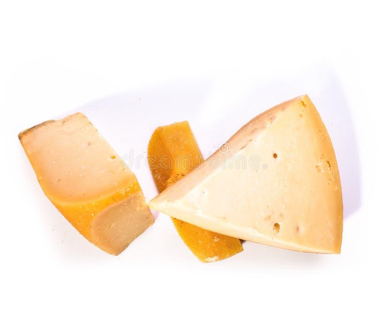 Pedaço de queijo isolado em fundo branco fotos de stock