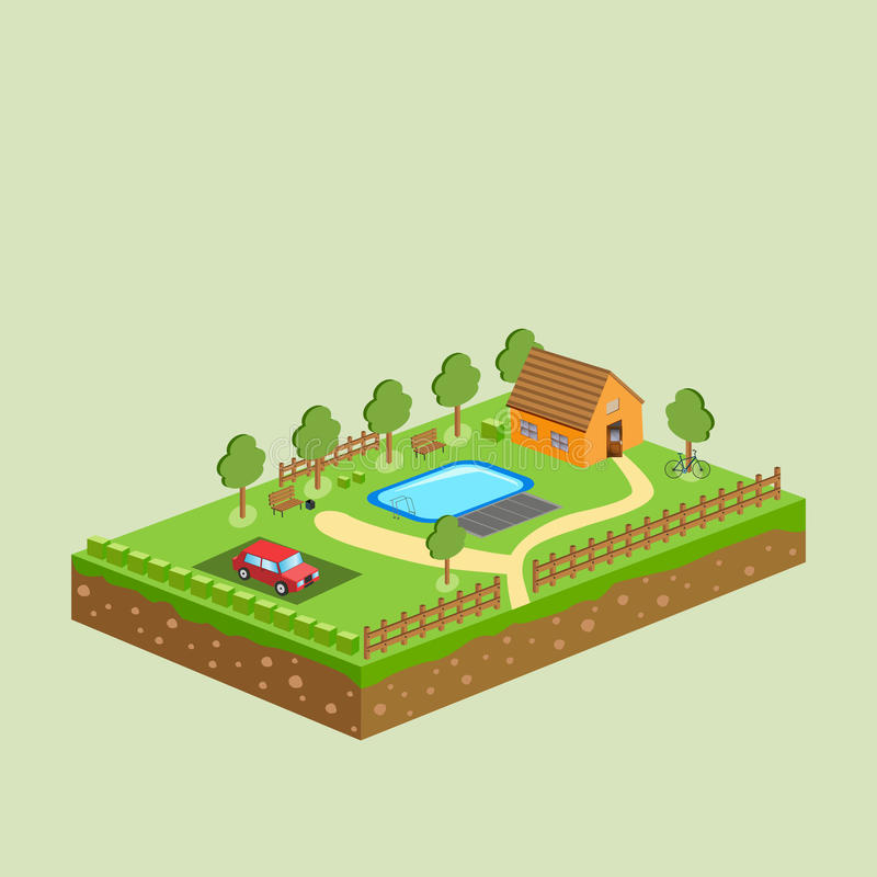 Pedaço de terra e céu do vetor com objetos ilustração royalty free