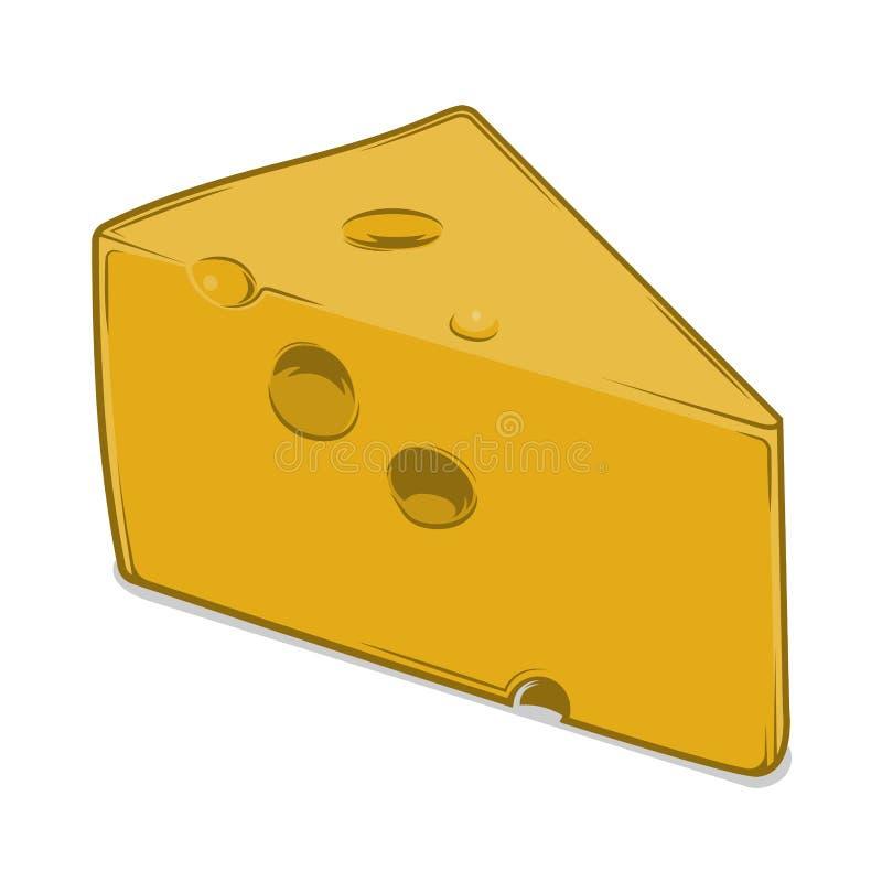Pedaço do queijo isolado em um fundo branco r Projeto retro ilustração royalty free