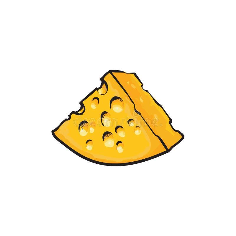 Pedaço, parte triangular de suíço, queijo do emmental ilustração royalty free