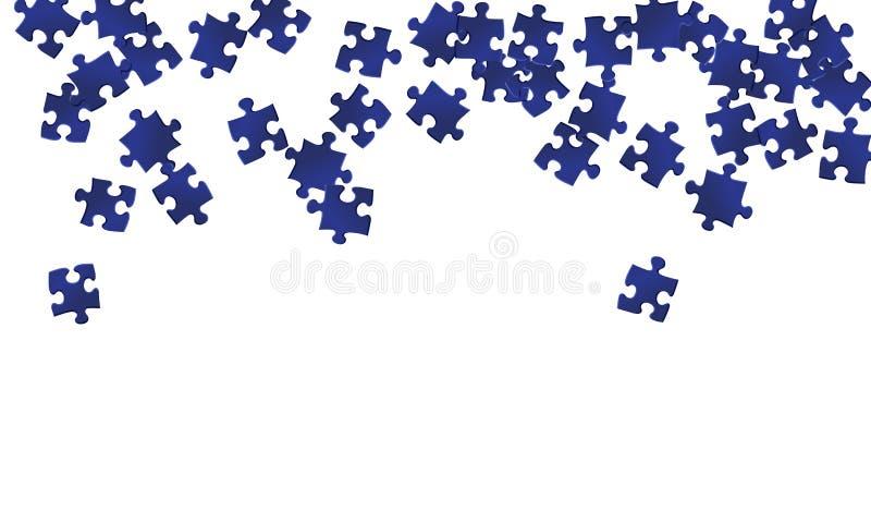 Pedaços azuis escuros de quebra-cabeça de jogo ilustração royalty free