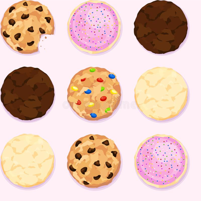 Pedaços de chocolate, açúcar, fundo de repetição sem emenda da cookie do caramelo ilustração stock