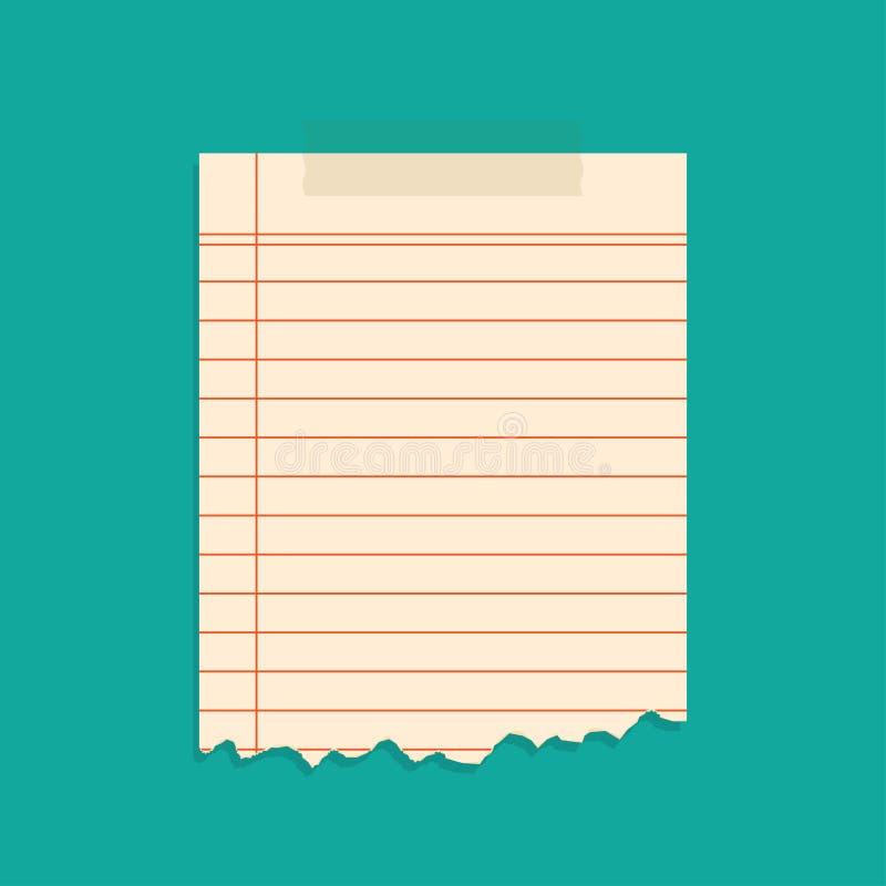 Pedaços de papel rasgados gravados com fitas adesivas ilustração stock