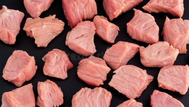 Pedaços em fatias de carne Carne de porco e de bovino, bife, cozinha Carne picada Menu fotos de stock