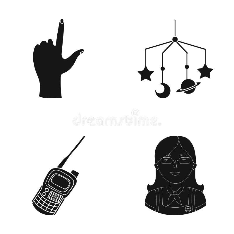 Pedagog, turystyka, podróż i inna sieci ikona w czerni, projektujemy , kombinezony, odznaka, skautowskie ikony w ustalonej kolekc ilustracji