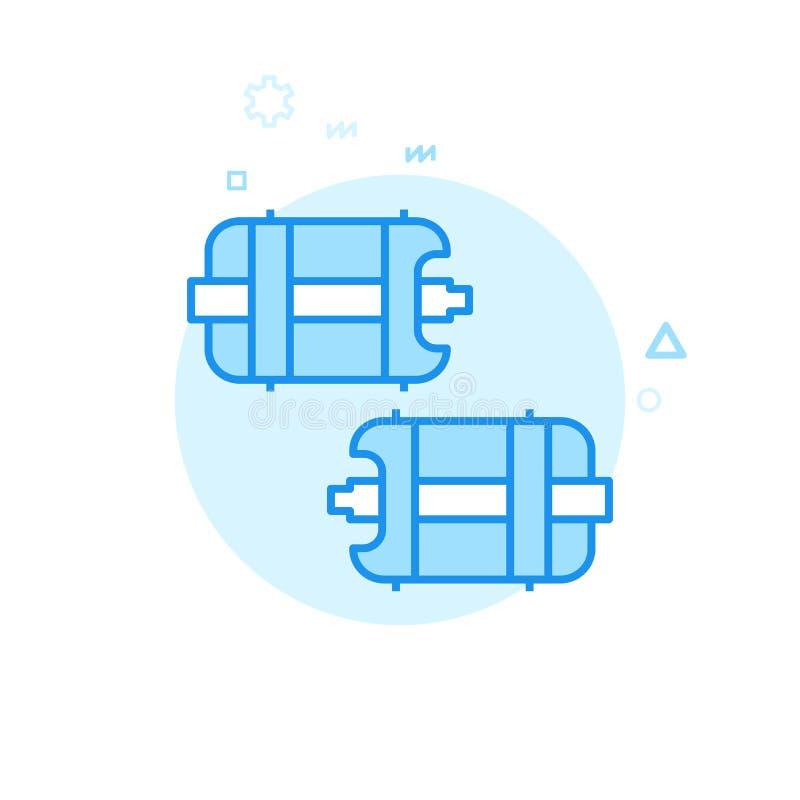 Pedais da bicicleta ou da bicicleta com ícone liso do vetor dos pontos, símbolo, pictograma, sinal Projeto monocromático azul Cur ilustração royalty free