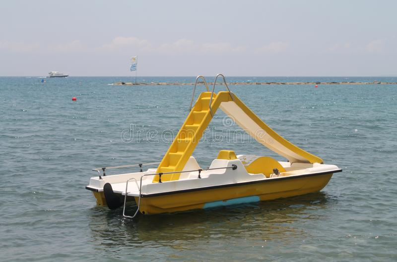 Pedal boat on the sea stock photos