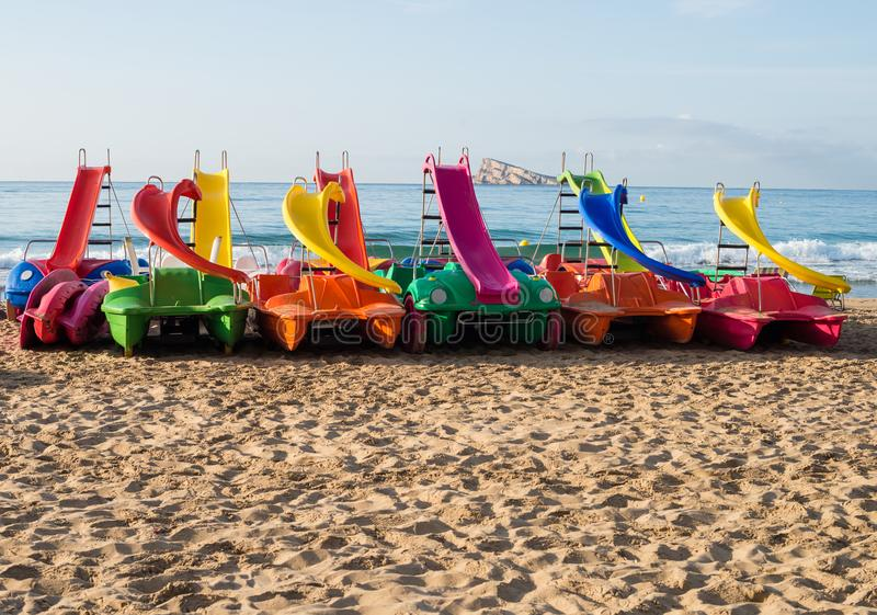 Pedal boats on Benidorm beach royalty free stock photos