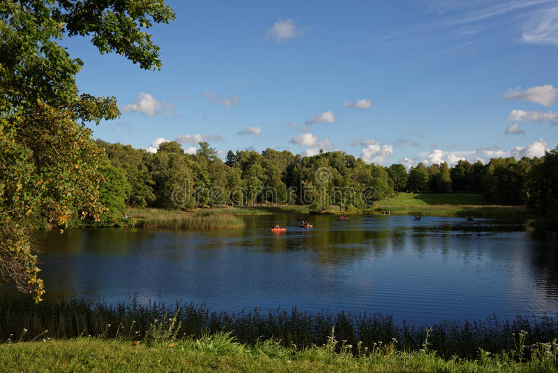 Pedal boats on the Lower Pond in Oranienbaum Garden stock photography