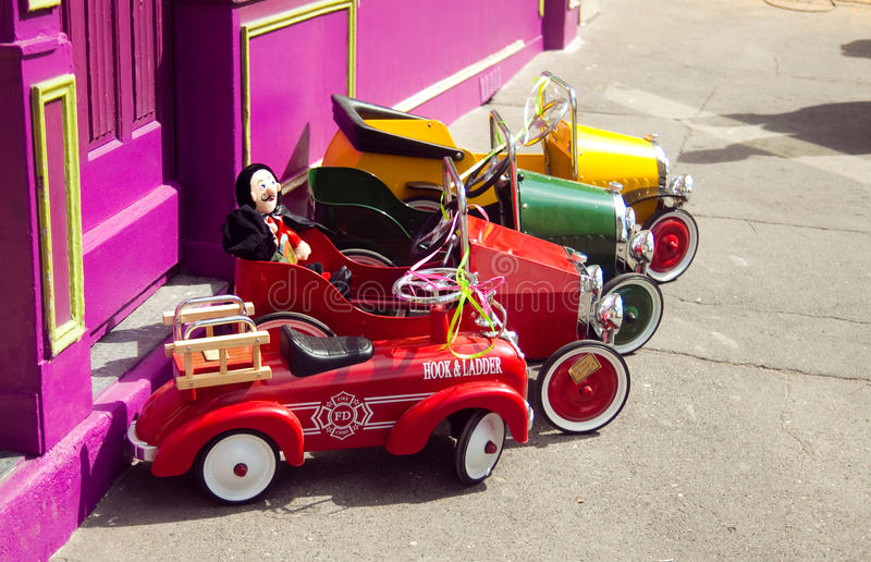 Pedal cars on the street royalty free stock photos