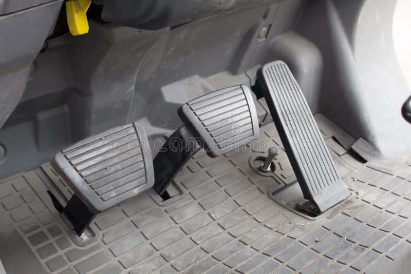 Pedal clutch, brake and accelerator stock photos