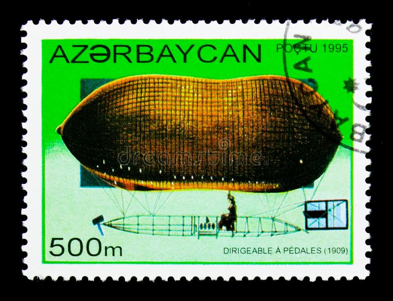 Pedal-powered airship, 1909, History of Airships serie, circa 1995. MOSCOW, RUSSIA - NOVEMBER 26, 2017: A stamp printed in Azerbaijan shows Pedal-powered airship royalty free stock photography