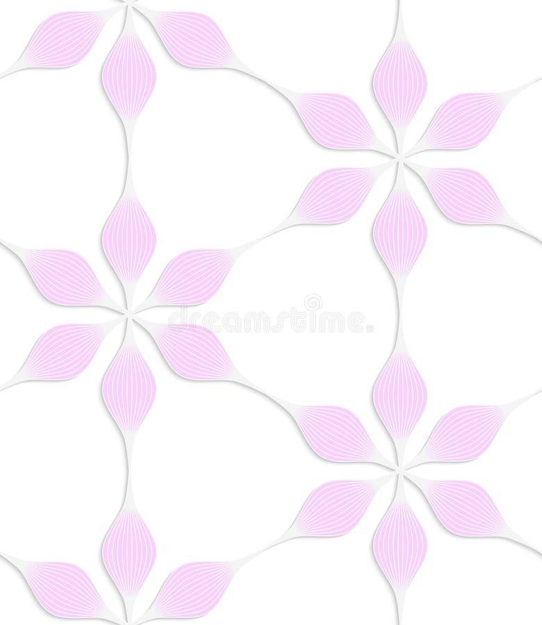 Pedalblumen des ROSAS sechs des farbigen Papiers des Weiß Blumen stock abbildung