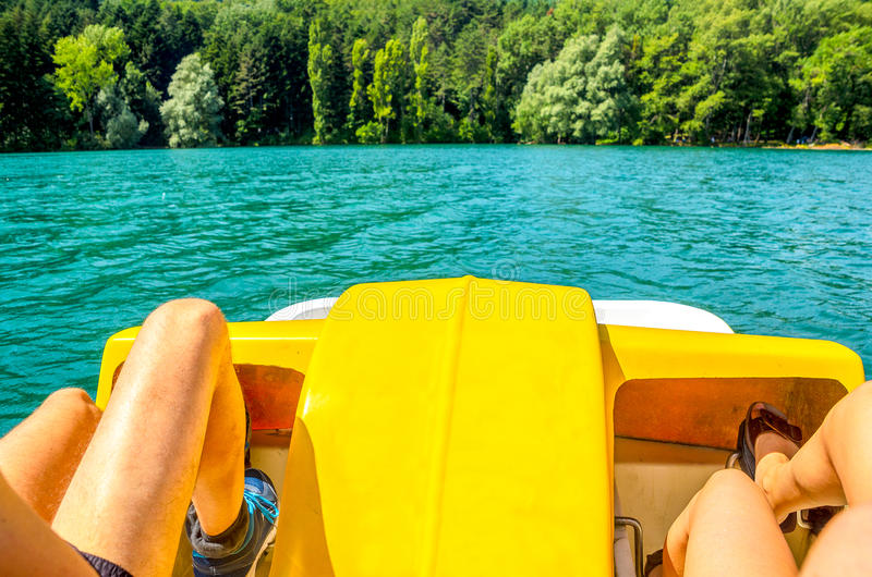 Pedalo paddle boat couple weekend trip escape stock photography