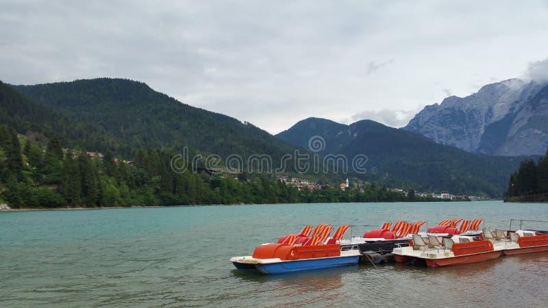 Pedalos на озере стоковые фото